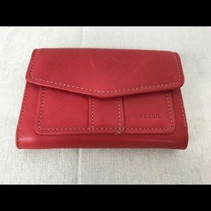Fossil Red Leather Tri Fold Wallet